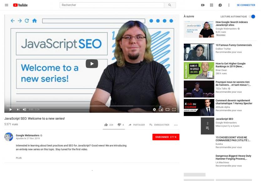 Une série vidéo sur le SEO dans les apps Javascript par Google