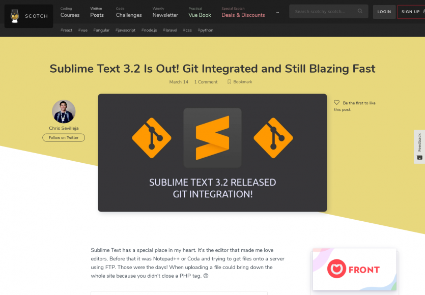 Sublime Text sort sa version 3.2 avec l'intégration de GIT