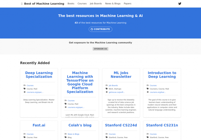 Une collection de ressources dédiées au Machine Learning
