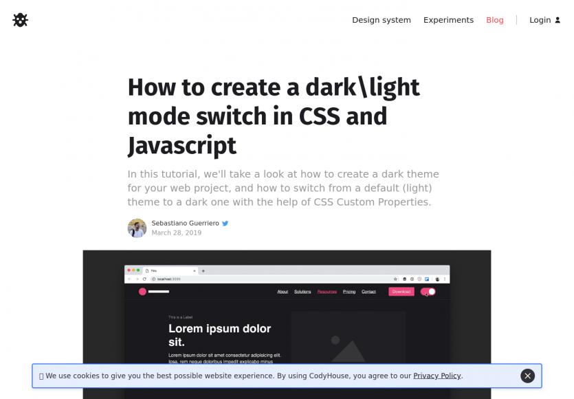 Créer un switch de thème dark/light pour site web en CSS et JS