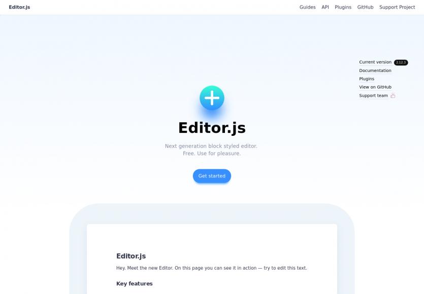 Editor.js - Un éditeur in-line de contenus modernes avec gestion de blocs