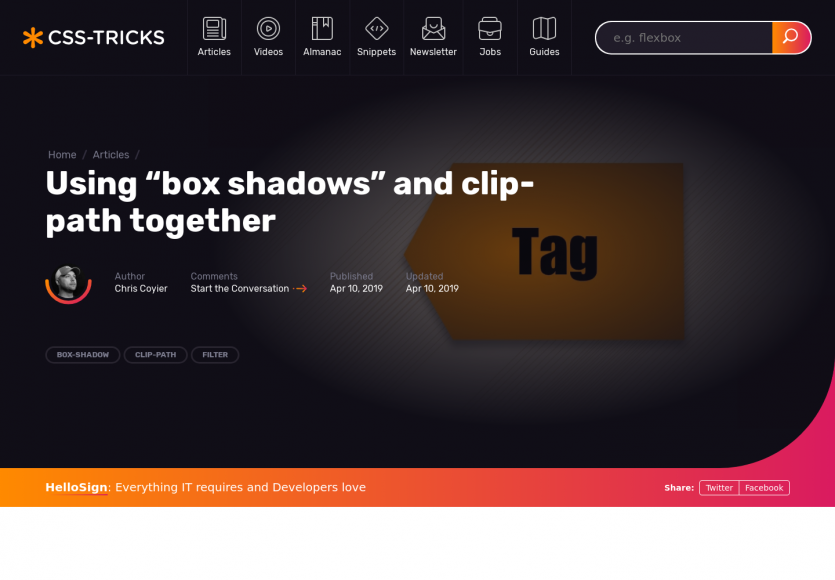 Utiliser box-shadow combiné à clip-path en CSS