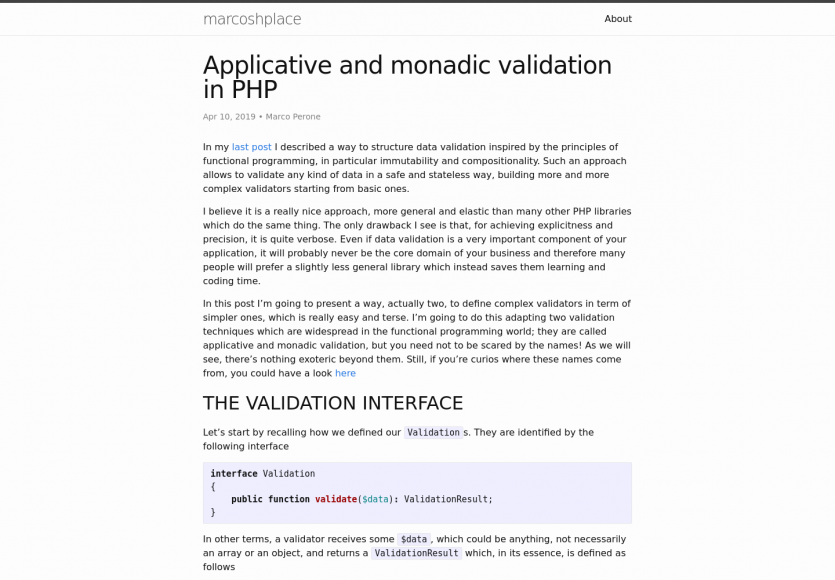 Validation applicative et monadique en PHP
