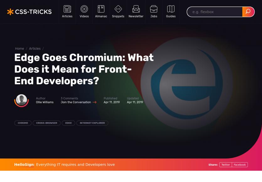 Edge sous Chromium : quelles conséquences pour les frontend dev ?