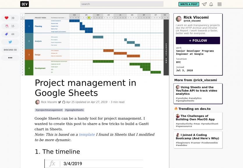 Gestion de projet avec des Google Sheets