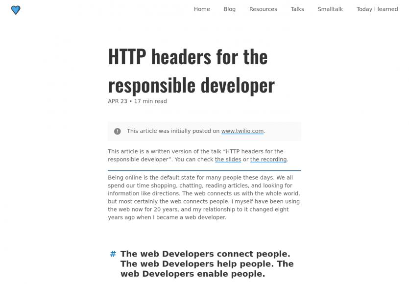 Headers HTTP pour le développeur responsable