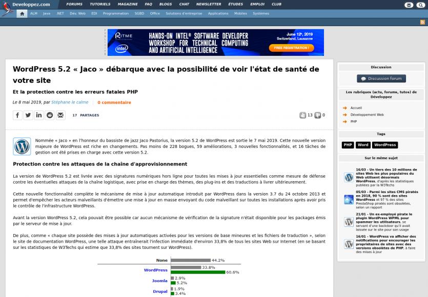 WordPress 5.2 Jaco : nouveautés du CMS avec analyse de santé et erreurs fatales en PHP