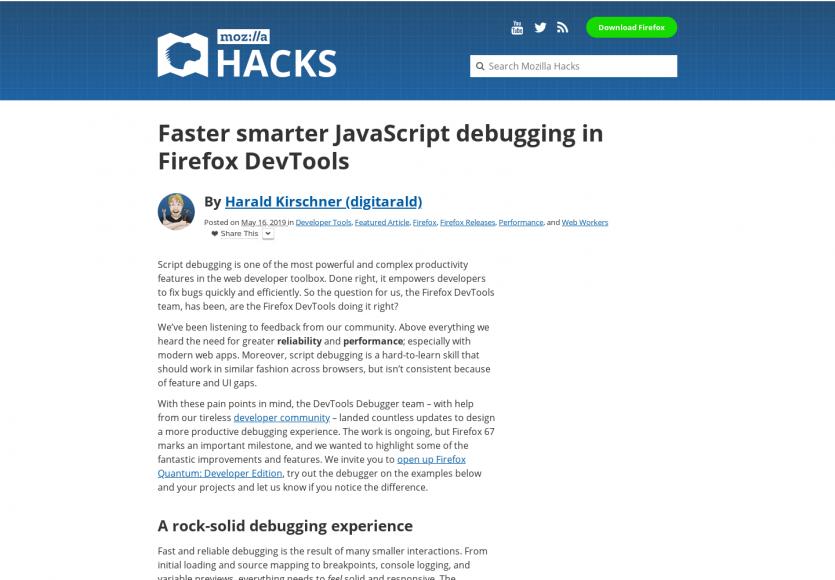 Du debug Javascript plus rapide et intelligent sur grâce au DevTools Firefox