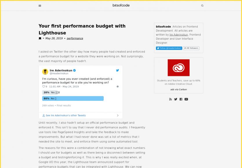 Votre premier budget performance avec Lighthouse