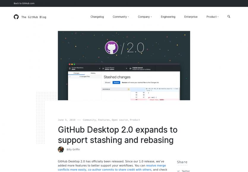Une nouvelle version desktop pour Github avec les fonctions de rebase et stash