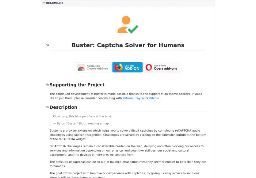 Buster : une extension pour résoudre des captchas complexes pour les humains