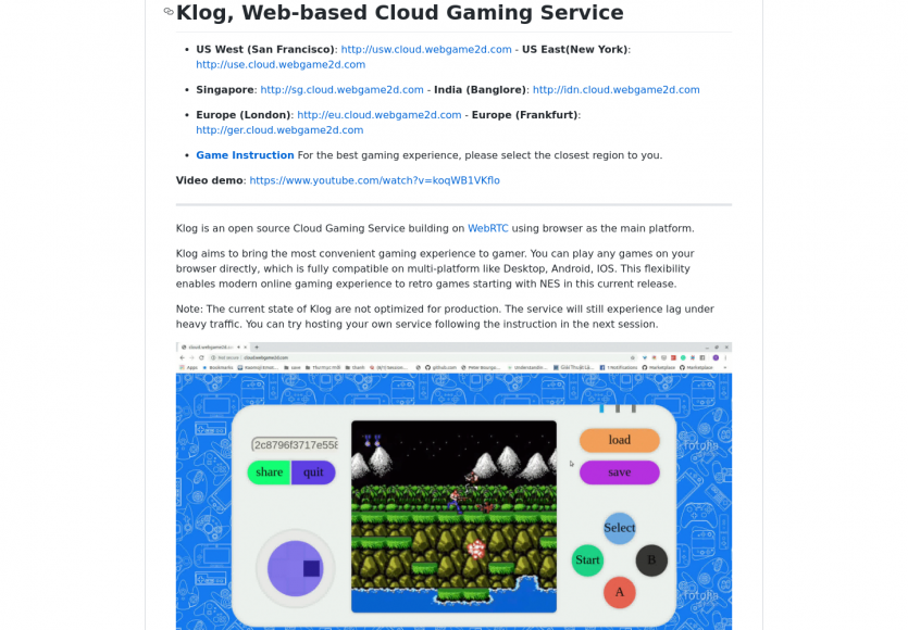 Klog: un service de gaming cloud web-base développé en Go