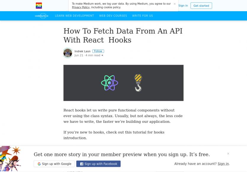 Récupérer les données d'une API à partir des Hooks React