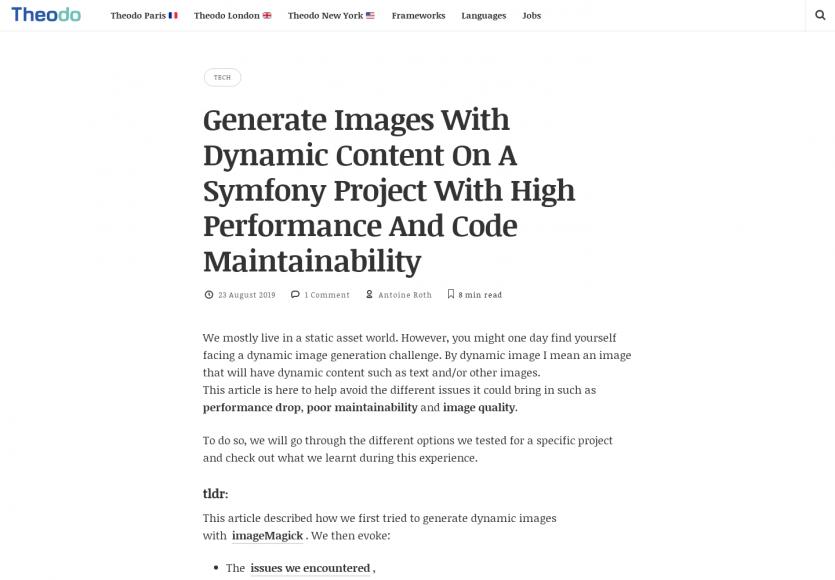 Génération d'images performante et maintenable dans un projet Symfony