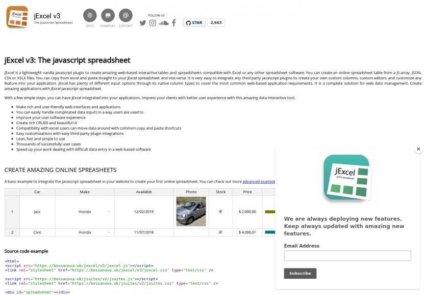 jExcel: créez des feuilles Excel en javascript pour vos pages web et app