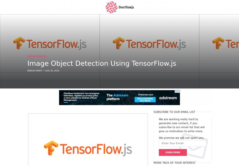 Détection d'objets sur images avec Tensorflow.js