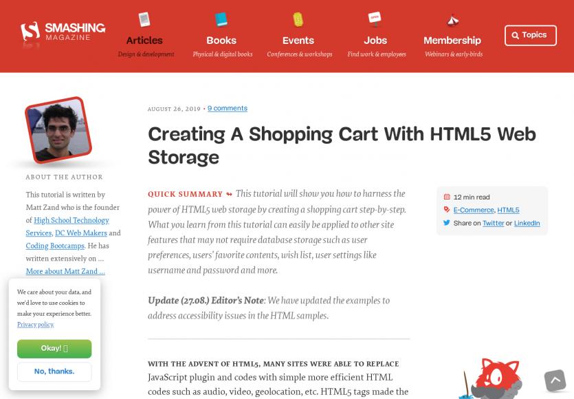 Créer un panier e-commerce avec du HTML5 Web Storage