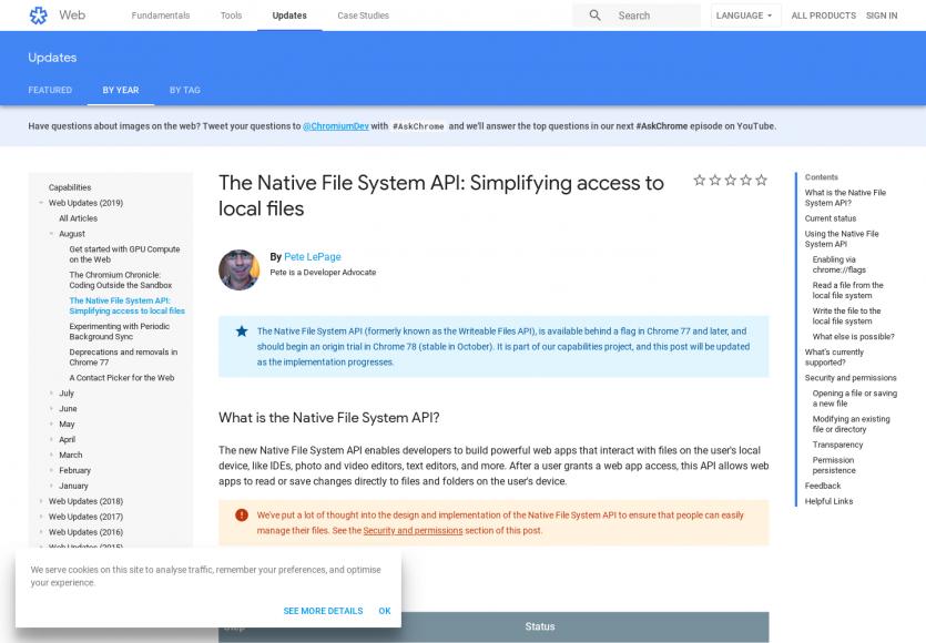 Focus sur la Native File System API pour simplifier l'accès aux fichiers locaux