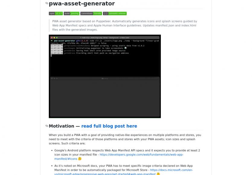 PWA Assets Generator: un outil permettant de générer toutes les assets utiles pour vos PWA