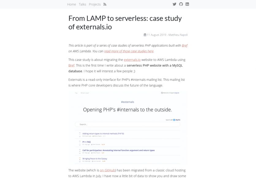Retour d'expérience d'un projet LAMP vers du Serverless