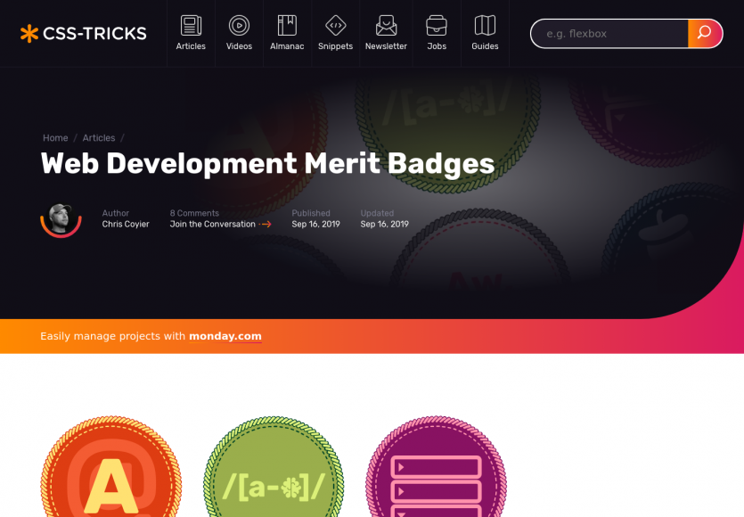 Une collection de badges pour les succès des développeurs web