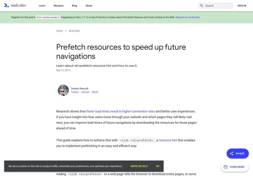 Prefetch de ressources pour accélérer la navigation des futures pages