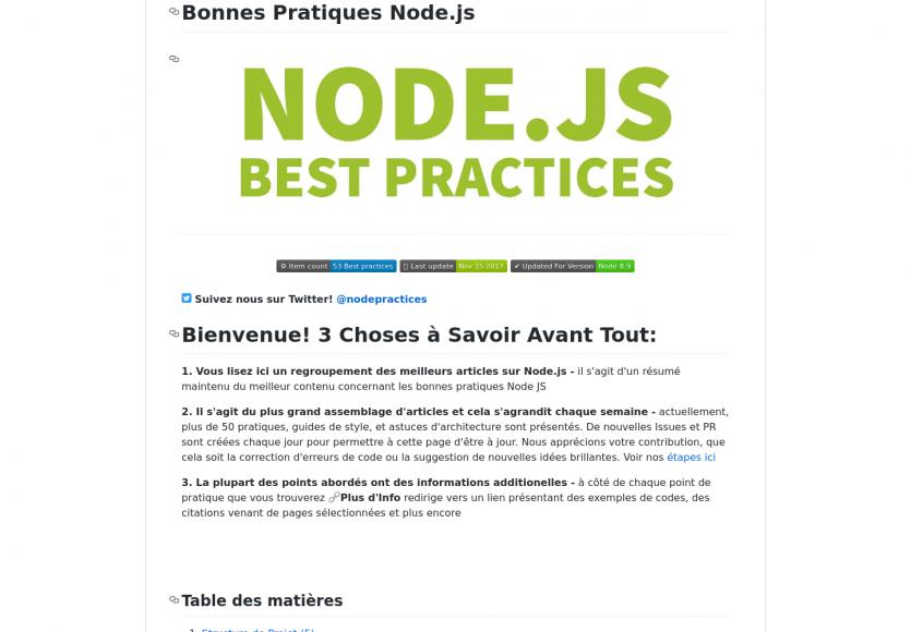 Une liste des bonnes pratiques à suivre en Node.js