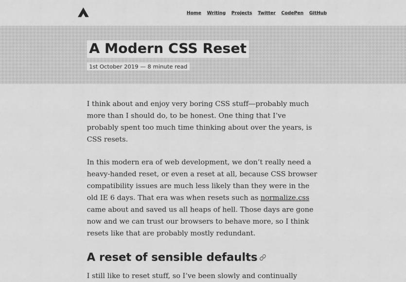 Un reset CSS moderne