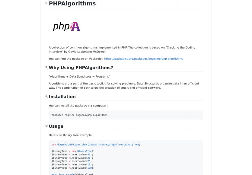 PHPAlgorithms: une collection d'algorithmes classiques implémentés en PHP