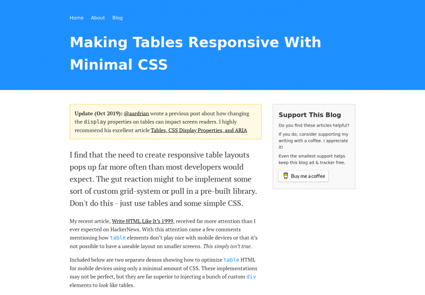 Créer des tableaux responsives avec un minimum de CSS