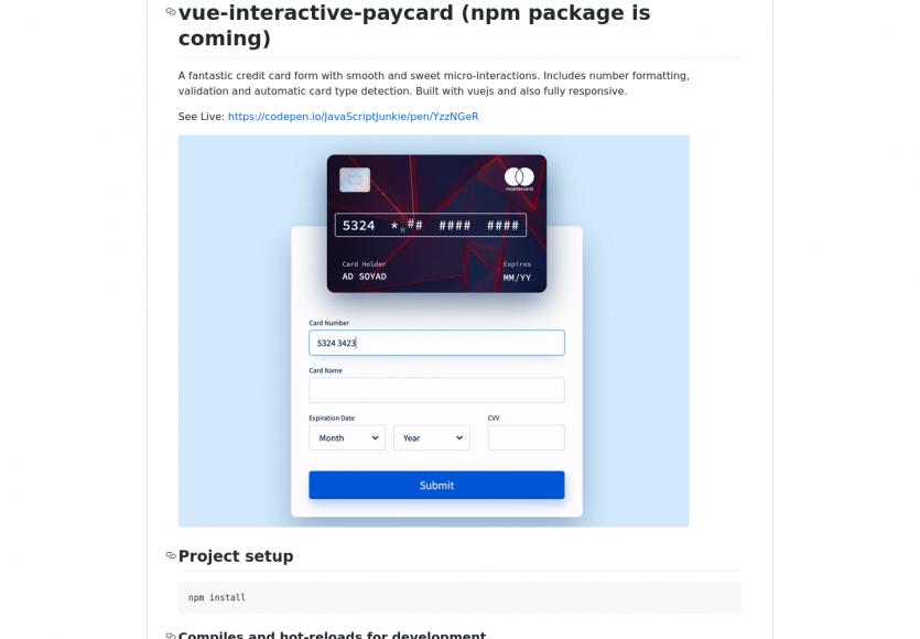 Un formulaire de carte de crédit interactif très intuitif en Vue.js