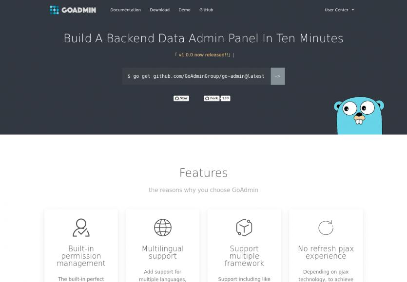 GoAdmin : un framework Go pour créer un dashboard en moins de 10 minutes