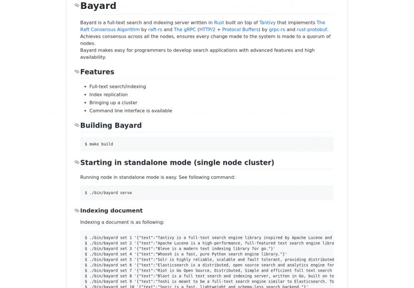 Bayard : un moteur de recherche fulltext et serveur d'indexation open source développé en Rust