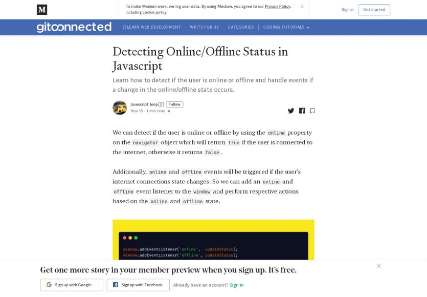 Détecter les statuts online / offline en Javascript