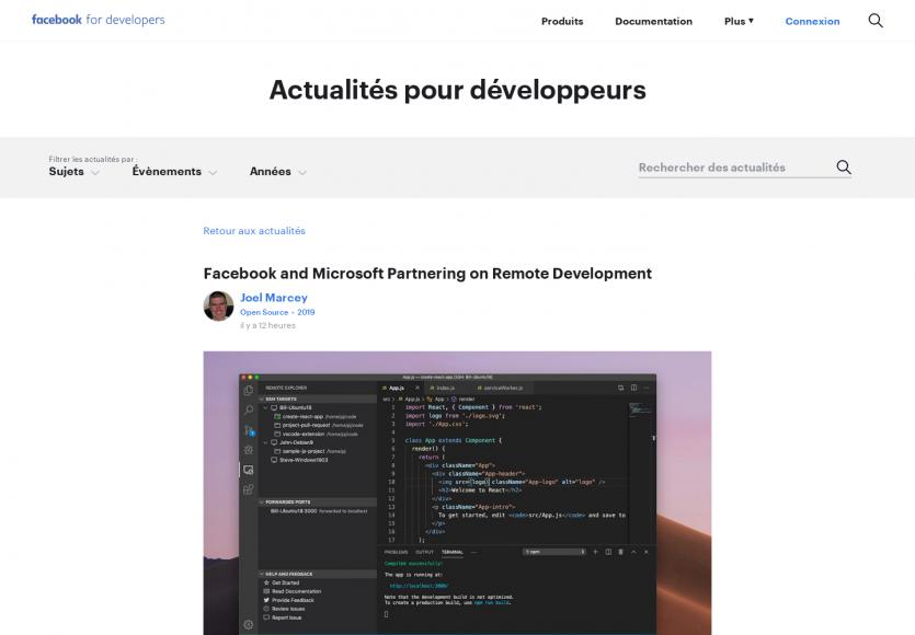 Facebook et Microsoft collaborent sur l'amélioration du remote programming sur Visual Studio Code