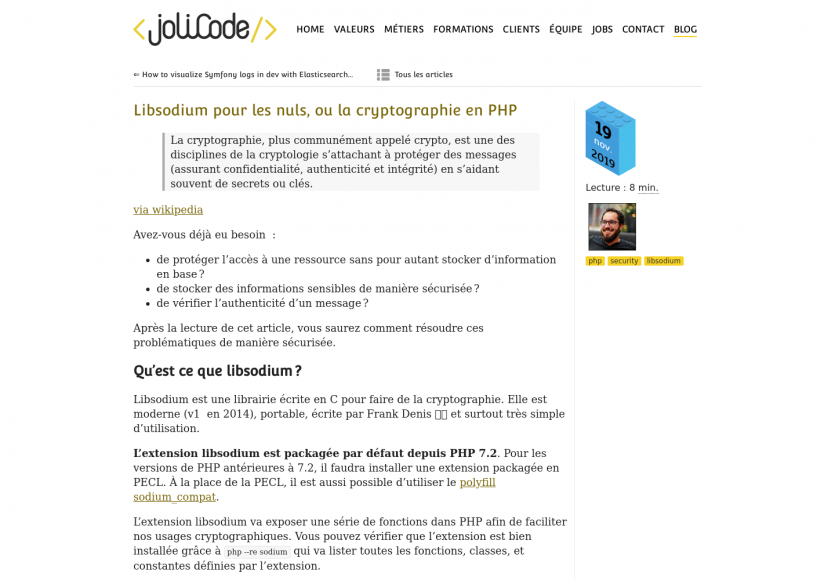 Cryptographie en PHP avec Libsodium