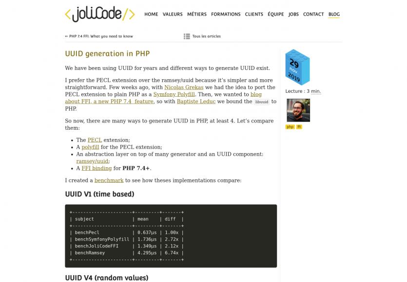 Un benchmark de génération d'UUID en PHP et sur Symfony