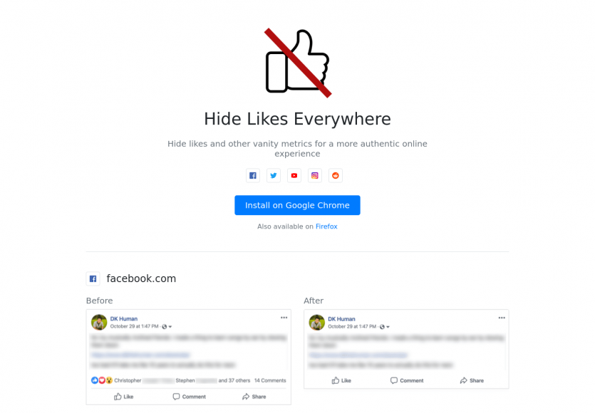 Hides like everywhere: une extension chrome pour supprimer automatiquement les like des posts