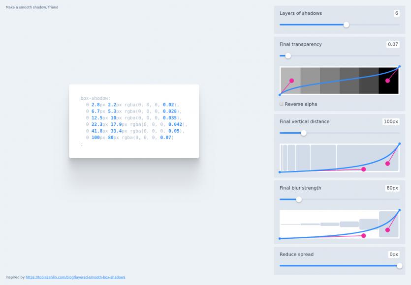 Un générateur visuel d'ombre CSS élégante