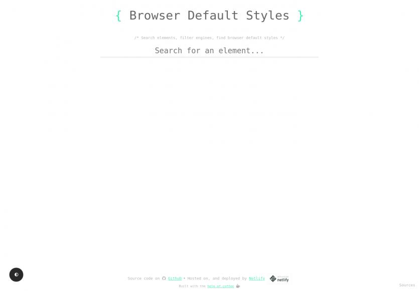 Une liste des styles par défaut des éléments HTML par navigateur