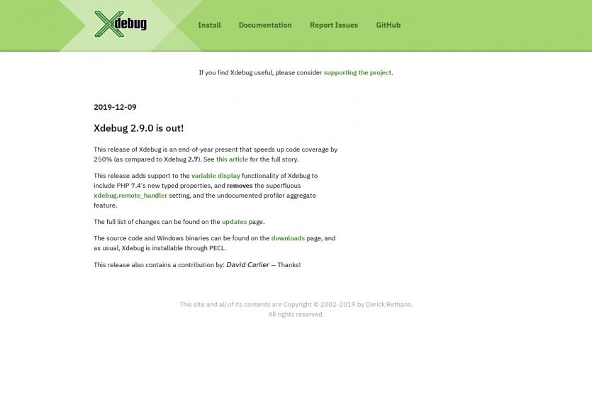 Xdebug 2.9.0 est dispo avec une amélioration des performances de 250 % vs la 2.7