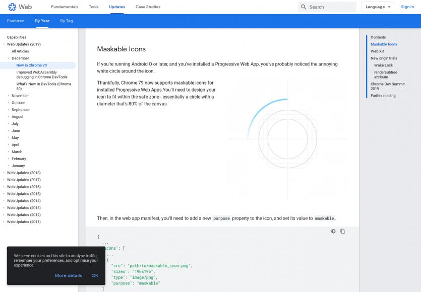 Les nouveautés de Chrome version 79 avec une amélioration des icônes PWA, empêcher la mise en veille ...
