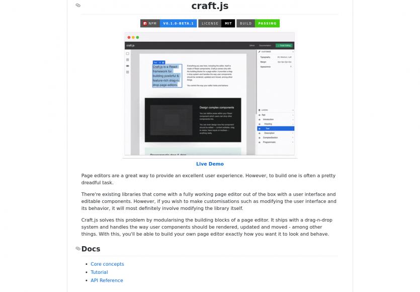 Craft.js - Un éditeur de page web visuel live en React.js