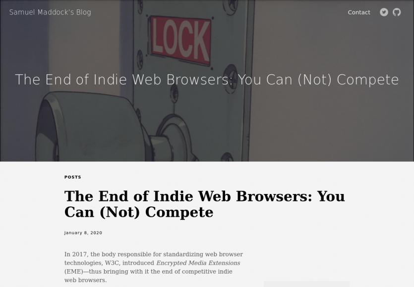 Il n'est plus possible aujourd'hui de créer un navigateur indépendant