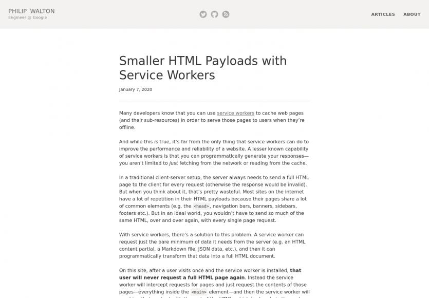 Améliorer l'empreinte HTML de vos pages à l'aide des Services Workers