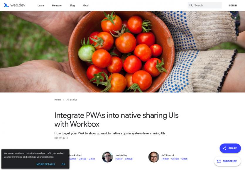 Ajouter l'écran de partage natif mobile sur une PWA