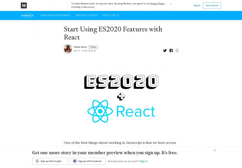 Utiliser les fonctionnalités d'ES2020 dans React dès aujourd'hui