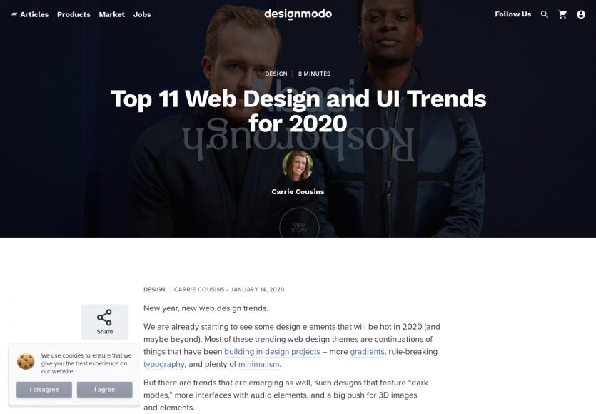 Le TOP 11 des tendances webdesign pour 2020