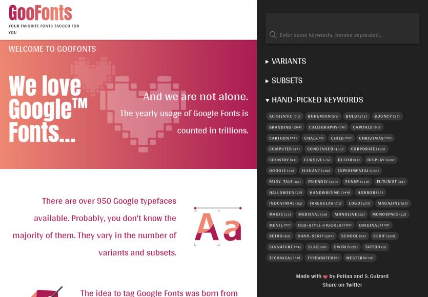 GooFonts : les Google Fonts tagguées pour trouver plus facilement la typo idéale pour son site