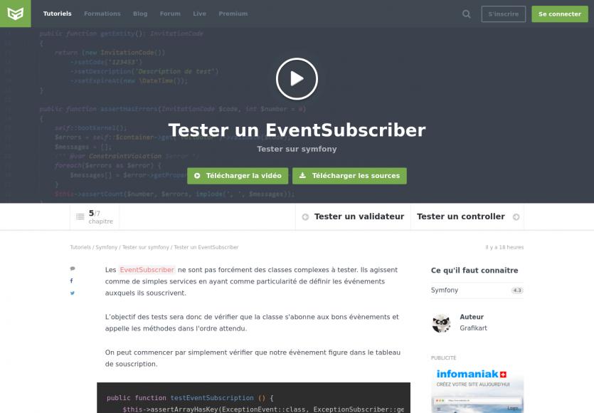 Tester un EventSubscriber sur Symfony